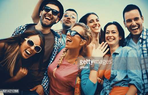 Group of friends hanging out