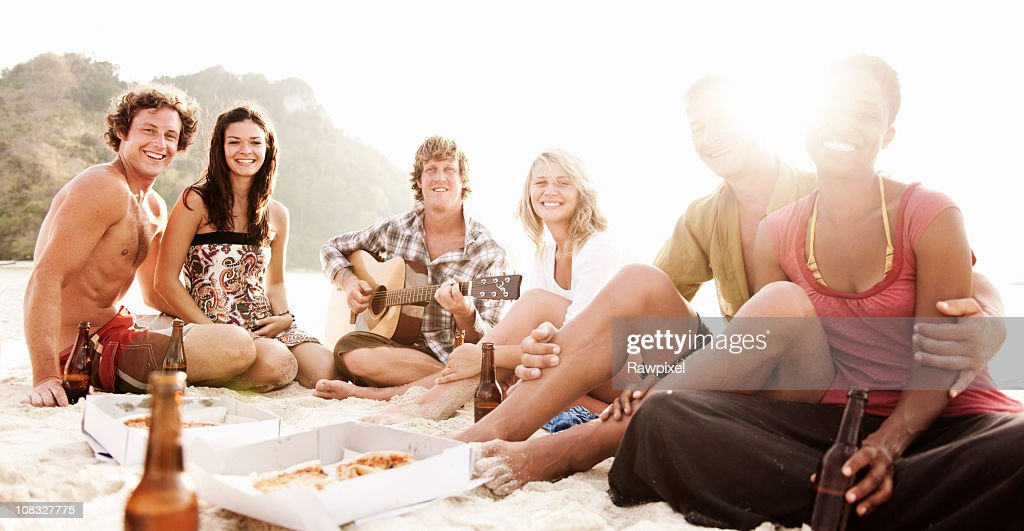 Group of friends having a Summer Beach Party : Stock Photo