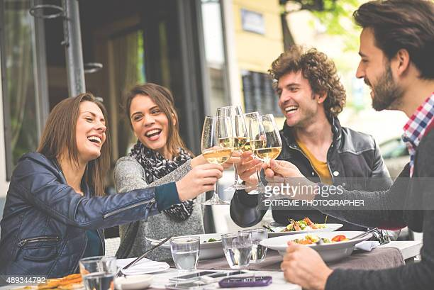 Group of friends having a toast