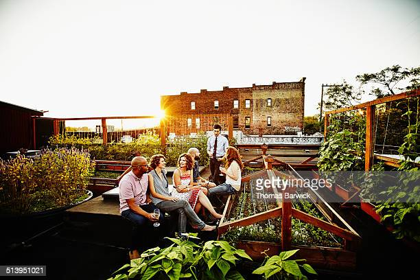 Group of friends having drinks in rooftop garden