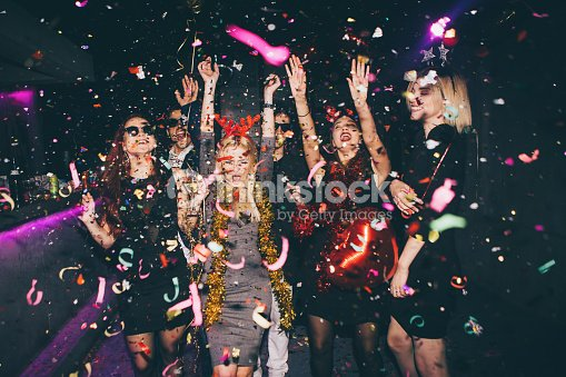 Group of friends having fun in the club : Stock Photo