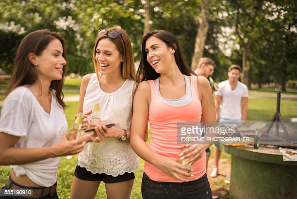 Group of friends on a barbecue picnic