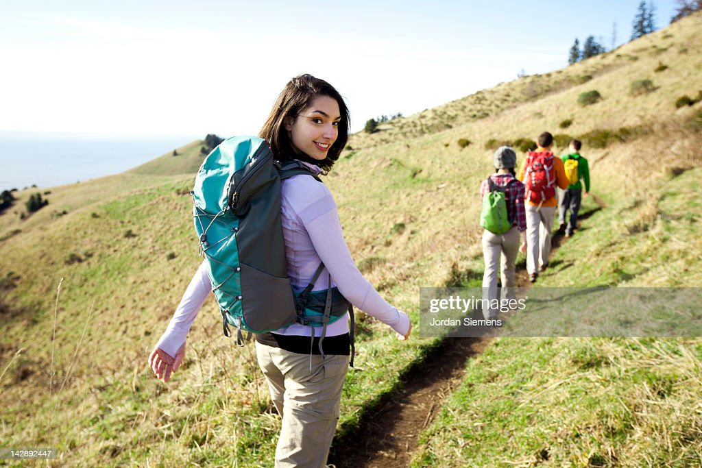 A group of friends on a hike. : Stock Photo