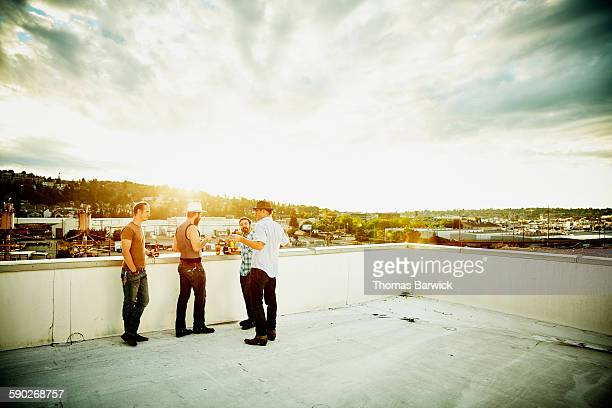 Group of friends on rooftop of building