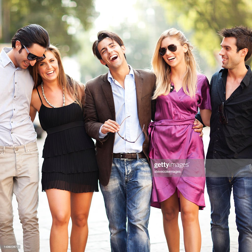 Group Of Friends On Street : Stock Photo