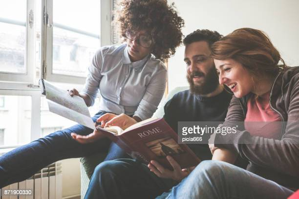 Group of friends planning vacation to Italy