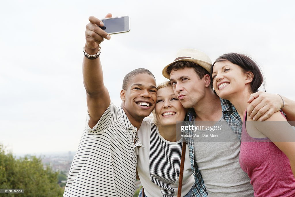 Group of friends posing for photo. : Stock Photo