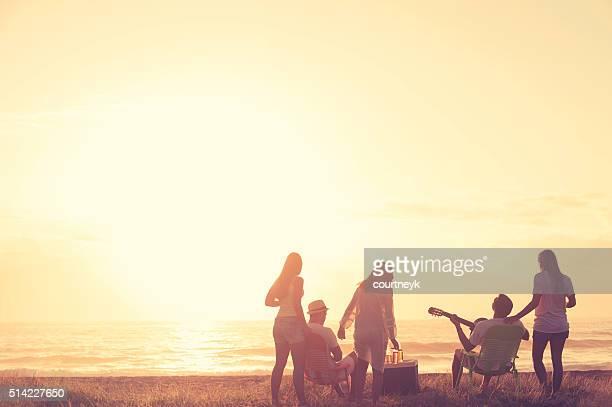 Groupe d'amis de détente à la plage.