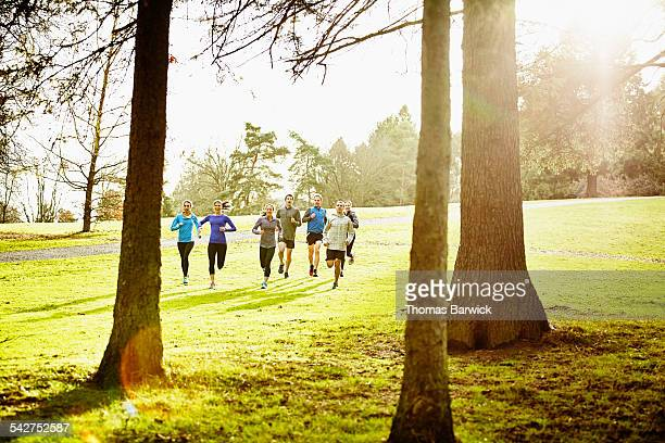 Group of friends running down hill in park
