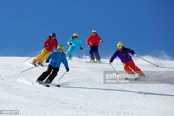 Group of friends skiing in Kuhtai ,Tirol, Austria