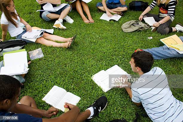 Group of friends (16-19) studying outdoors, elevated view