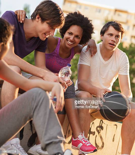 Group of Friends Talkng After Basketball Game