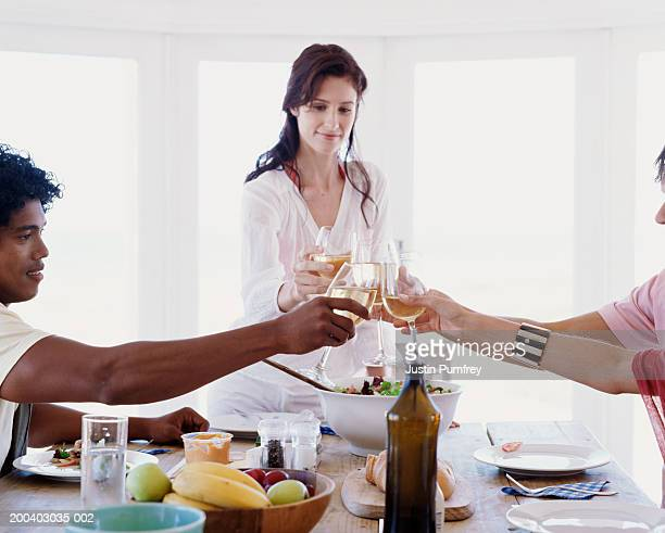 Group of friends toasting white wine at table