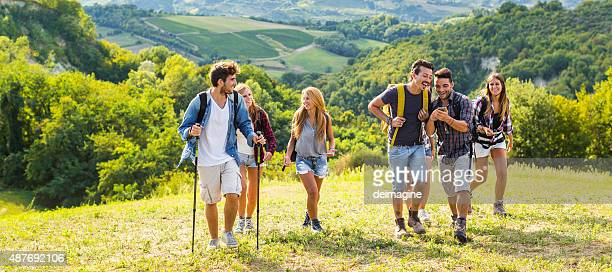 Group of friends trekking