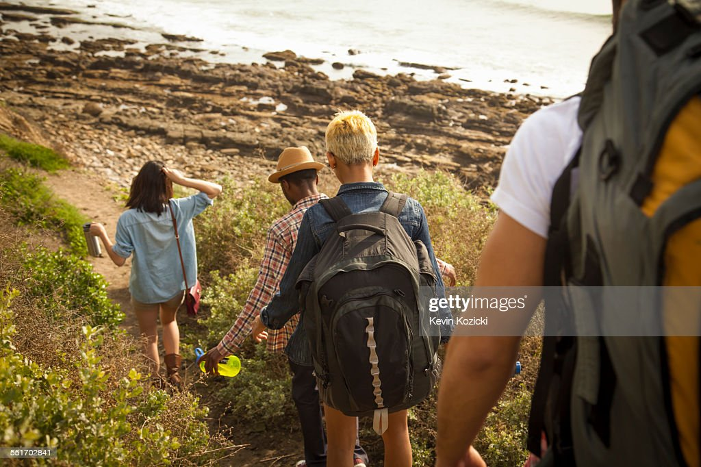 Group of friends walking down towards beach, rear view