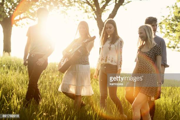 Groupe d'amis, marchons ensemble dans un champ, chantant et jouant de la guitare