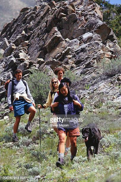 Group of friends with dog hiking in mountains