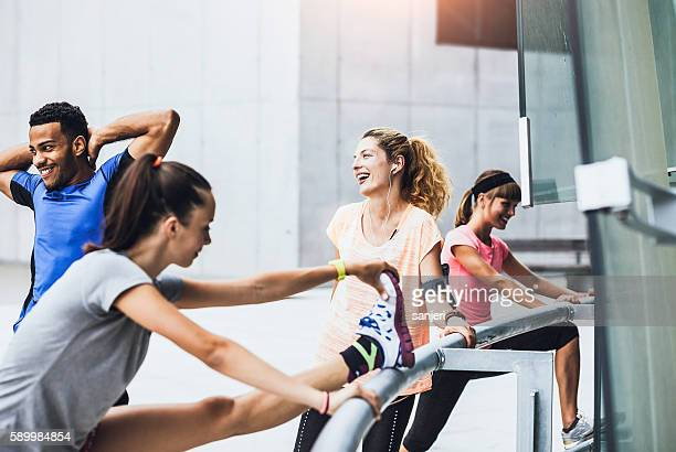 Group of friends working out together