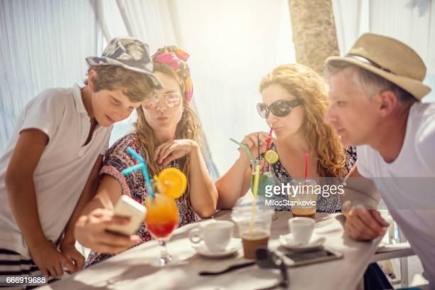 Group of friens enjoy in beach bar