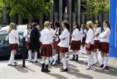 A group of girls dressed in school uniforms prepare to film the new tATu music video on May 7 2003 in Central London The girls have been chosen after...