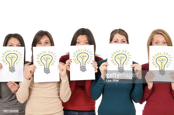 Group of Girls Showing Light Bulb Drawing