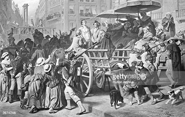 A group of Girondists arriving at the guillotine in Paris in a wagon surrounded by a mob Original Artwork By Piloty