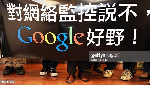 A group of Google wellwishers visit the company's offices in Hong Kong on January 14 2010 China declared its Internet 'open' but defended censorship...
