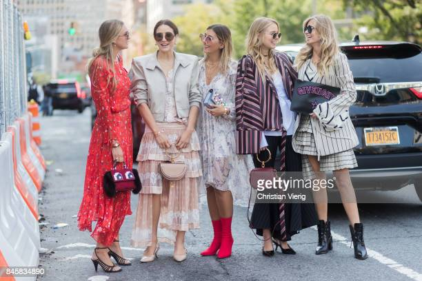 Group of guests seen in the streets of Manhattan outside Zimmermann during New York Fashion Week on September 11 2017 in New York City