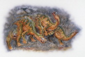 A group of Hadrosaurus foulkii Hadrosauridae under a rain of volcanic ash Late Cretaceous Artwork by Steve Roberts