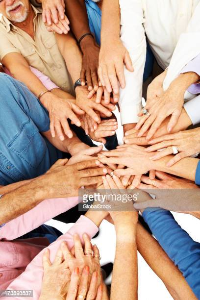 Group of hand showing unity and support to a cause