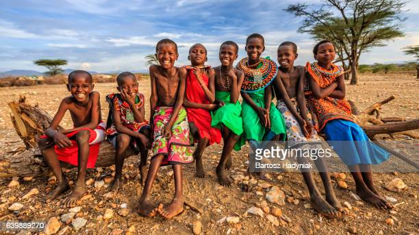 Group of happy African children from Samburu tribe, Kenya, Africa