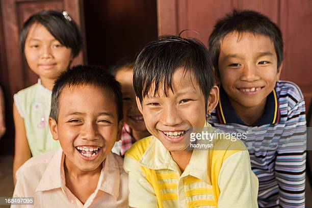 Group of happy Burmese children
