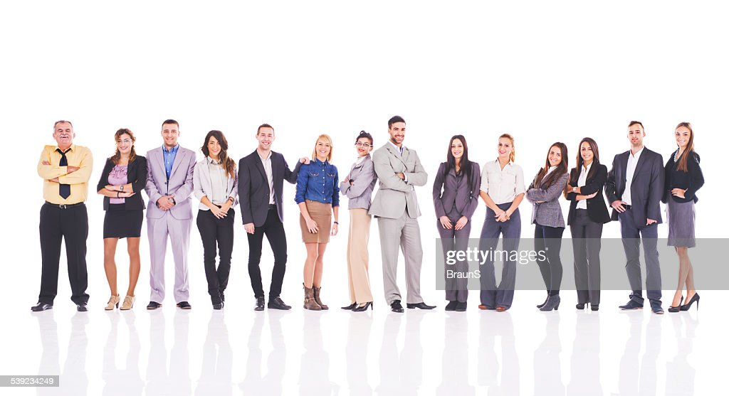 Group of happy business people standing in a line.