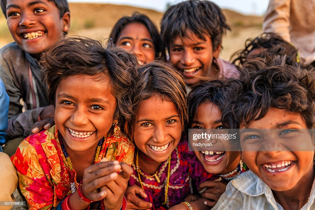 Group of happy Gypsy Indian children, desert village, India : Stock Photo