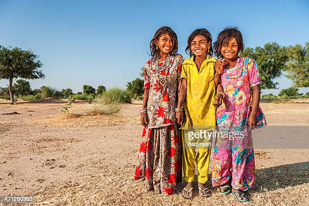 Group of happy Indian girls, desert village, India