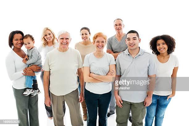 Grupo de feliz familia sonriendo.