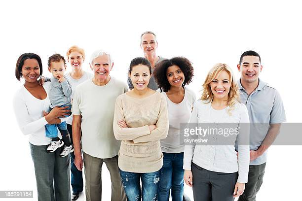 Group of Happy Multi-generation Family smiling.