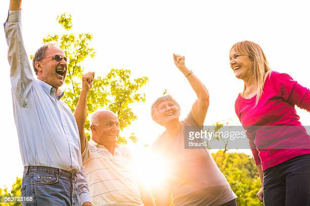 Group of happy seniors having fun together at sunset.