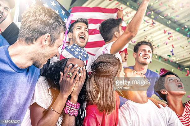 Group of happy USA supporters