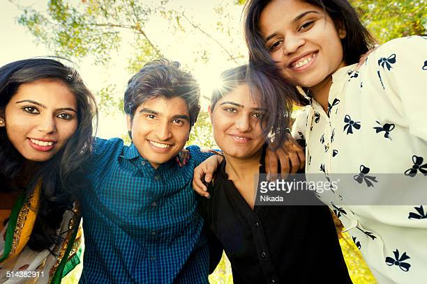 Group of happy young indian people