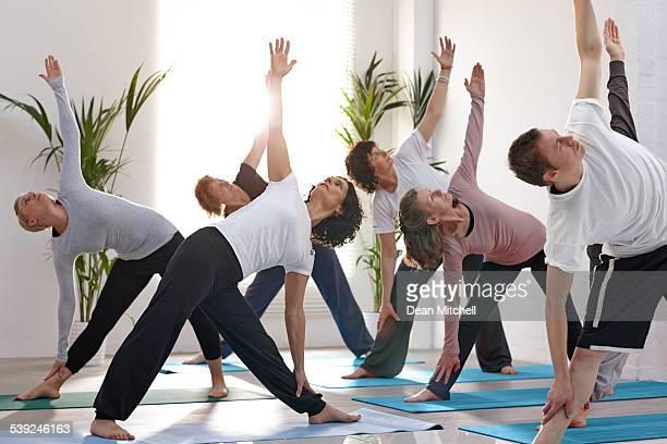 Group of healthy people doing yoga