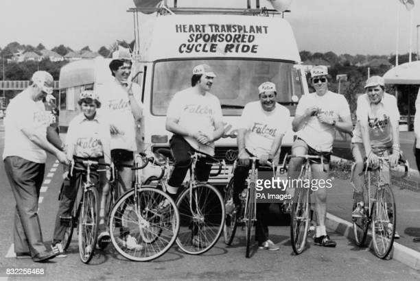 A group of heart transplant patients pictured at the beginning of their sponsored cycle ride from East Birmingham Hostpital to Papworth General...