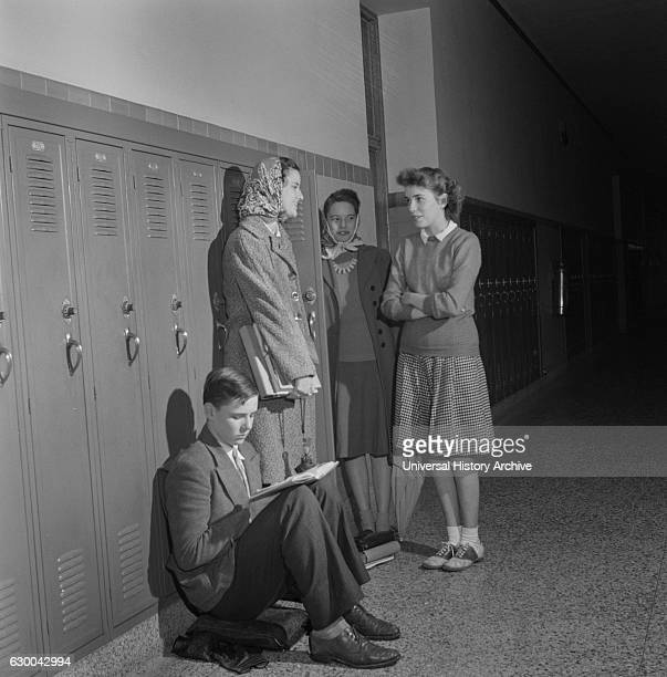 Group of High School Students Talking at Lockers Washington DC USA Esther Bubley for Office of War Information October 1943