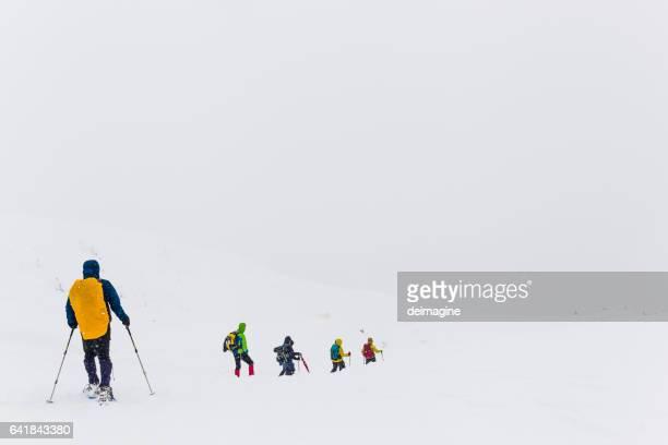 Group of hiker trekking on snowy field during snowfall