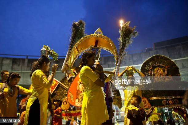 A group of Hindu devotee make his way towards the Batu Caves to perform religious rites for the upcoming Thaipusam festival at the Batu Caves in...
