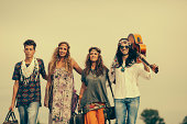 Group of hippies friends, posing