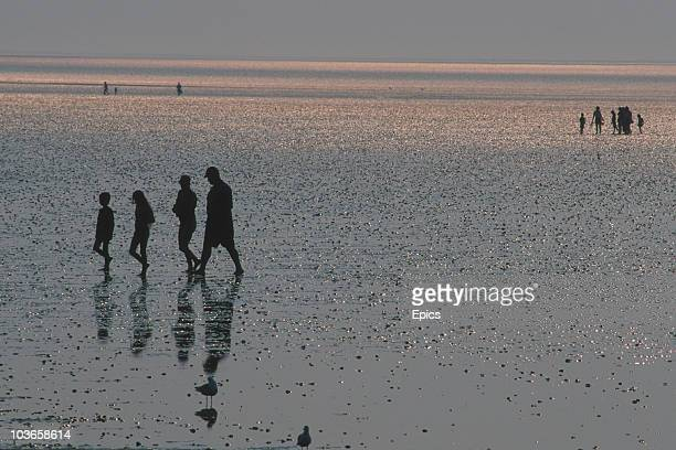 A group of holidaymakers are silhouetted against the sun whilst walking along the beach near the village of Snettisham Kings Lynn Norfolk circa 1990