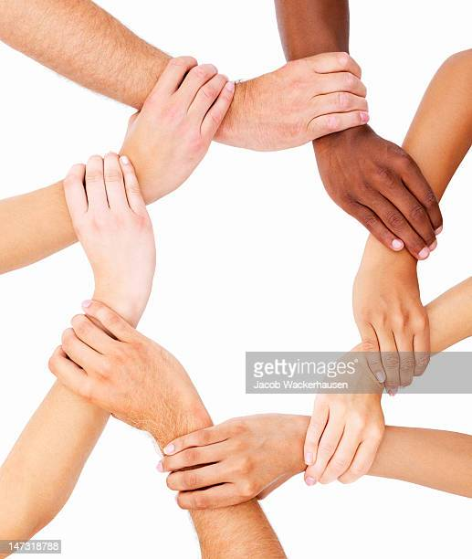 Group of human hands showing unity
