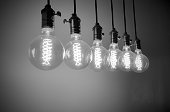 Group of Incandescent bulbs for home furnishings or restaurants style vintage, black and white tone.