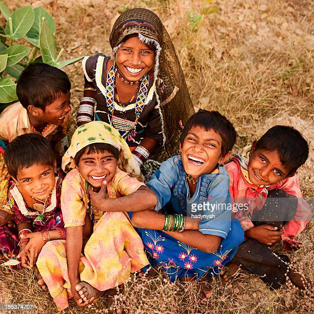 Group of Indian children, desert village, India